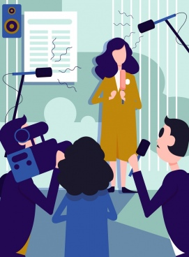 reporter job drawing colored cartoon design