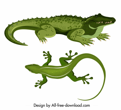 reptile species icons crocodile gecko sketch green design
