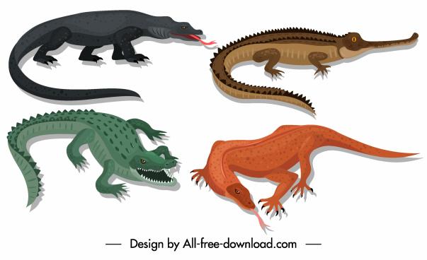 reptile species icons frightening alligator salamander sketch