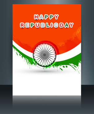 republic day tricolor brochure template for wave indian flag design