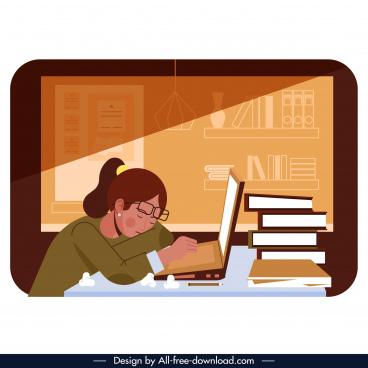 research background sleepy student book stack cartoon design