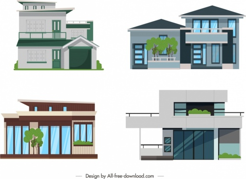 residential architecture icons front design modern ornament