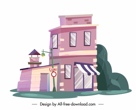 residential building icon colored contemporary sketch
