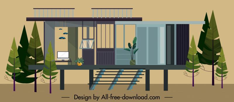 residential house exterior template contemporary stilts steps decor