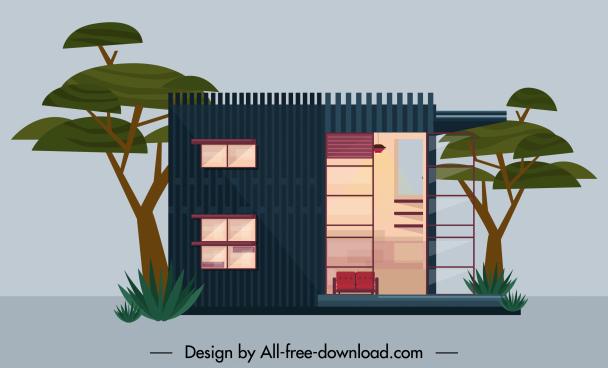 residential house exterior template flat design contemporary decor