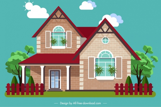residential house icon modern colored sketch
