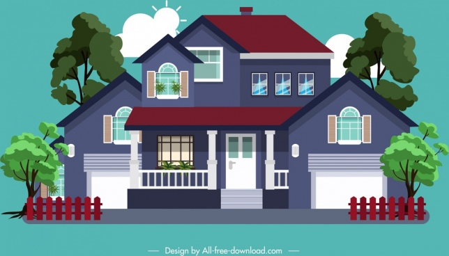 residential house model icon colored modern sketch