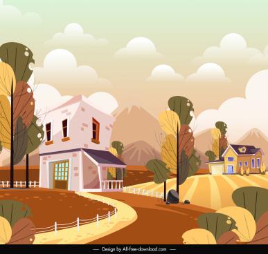 residential landscape background colorful design houses hill sketch