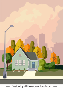 residential painting house sketch colorful decor