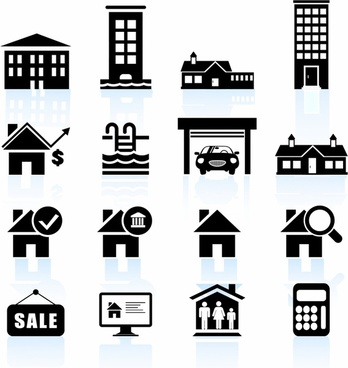 Residential real estate black and white icon set