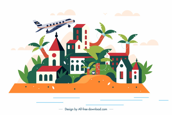 residential town background houses airplane sketch