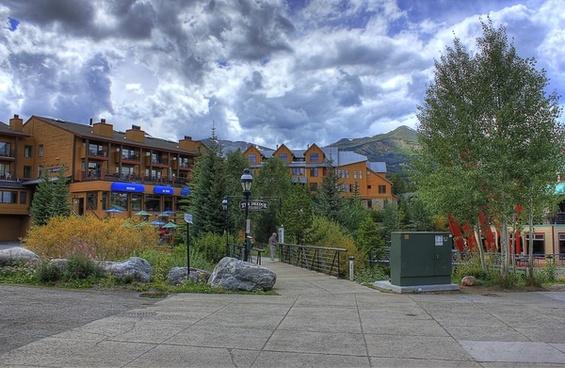 resort under clouds at breckenridge colorado