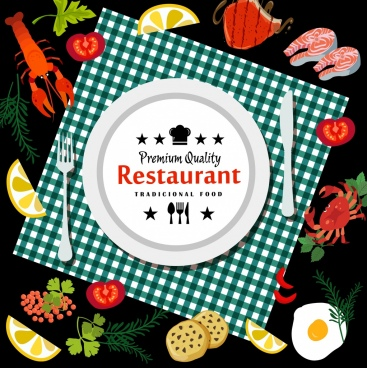 restaurant advertisement dishware food icons decoration