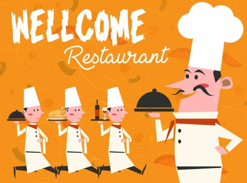 restaurant advertising banner male cooks icons decor