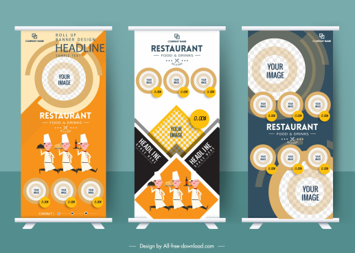 restaurant advertising banner templates vertical rolled up design