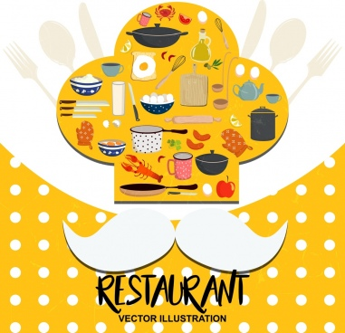 restaurant advertising chef hat moustach utensils icons decor