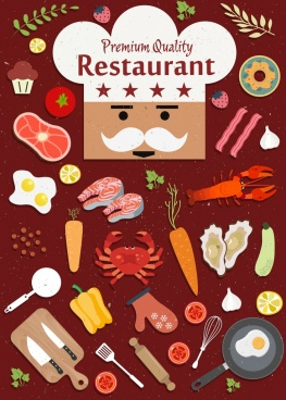 restaurant advertising cook face food utensils icons decor