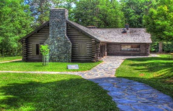 restaurant and cabin at copper falls at copper falls state park wisconsin