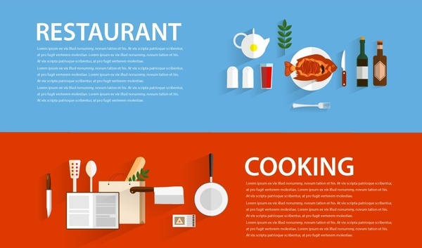 restaurant and cooking promotion banner illustration in flat