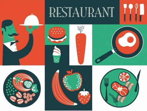 restaurant background classical dark red green design