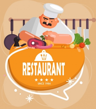 restaurant background cook food kitchenware icons classical design
