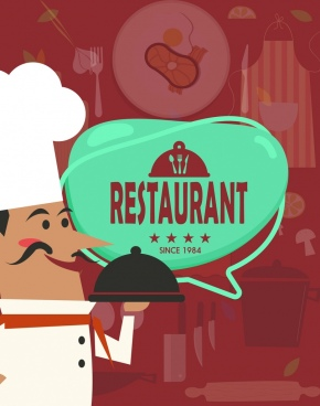 restaurant background cook icon blurred kitchenware objects decor