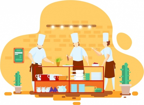 restaurant background cooks preparing food icon cartoon sketch