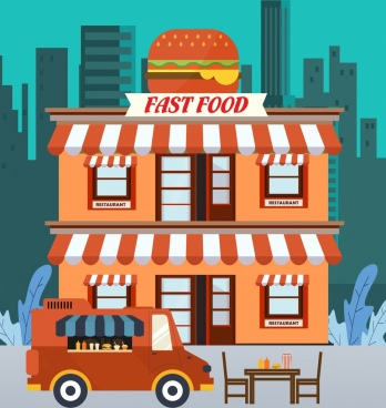 restaurant background fast food theme cartoon design