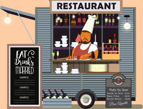 restaurant background mobile booth cook icon cartoon design
