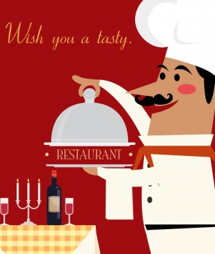 restaurant banner cook utensils icons colored cartoon