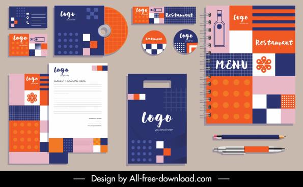 restaurant brand identity sets colorful flat geometric decor