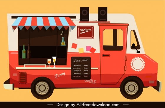 restaurant car icon flat colored classical sketch