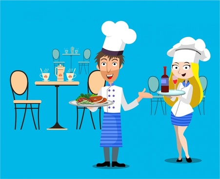 restaurant concept design with waiter and waitress