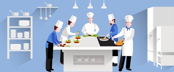 restaurant cooking activities vector design in major white