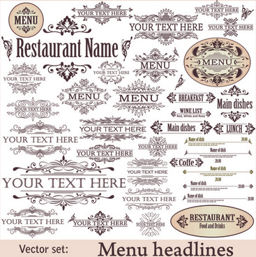restaurant decor elements vector set