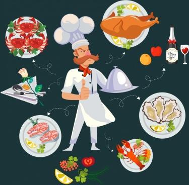 restaurant design elements cook food icons cartoon design
