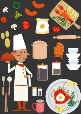 restaurant design elements cook ingredients food kitchenware icons