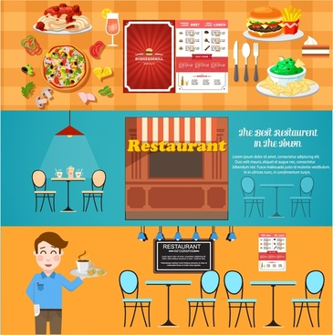 restaurant design elements illustration in flat horizontal style