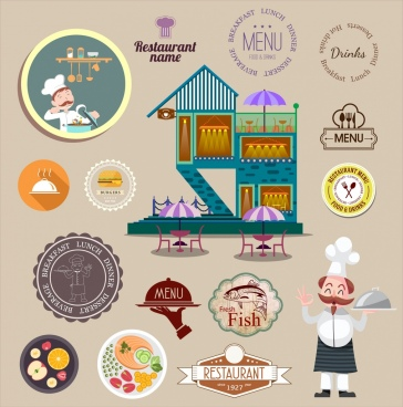 restaurant design elements stamps logo food cook icons