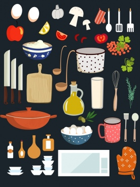 restaurant design elements utensils ingredients equipment icons