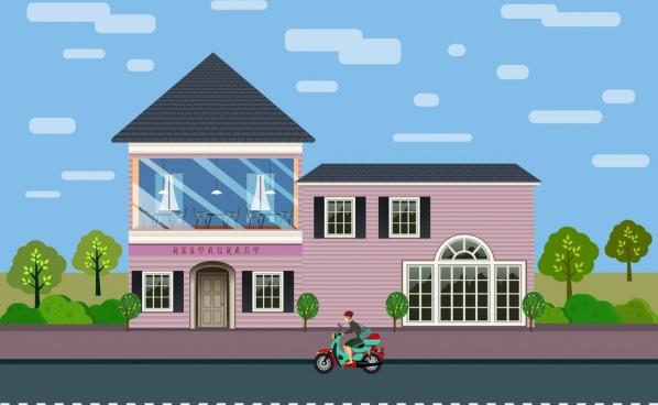 restaurant facade design pink glass wall colored cartoon