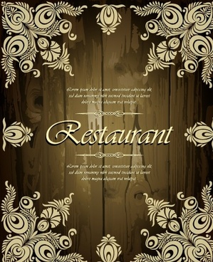 restaurant floral frame menu cover vector