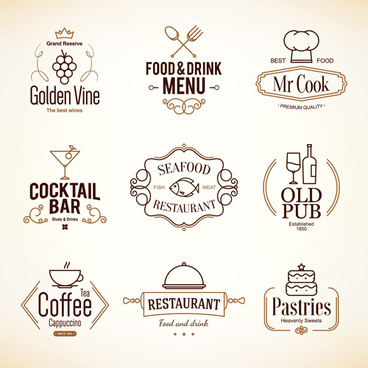 restaurant food menu logos vector design