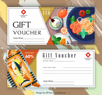 restaurant gift voucher templates food sketch colorful design