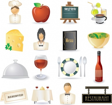 restaurant design elements colorful modern symbols sketch