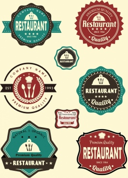 restaurant labels collection colored flat shapes classical design