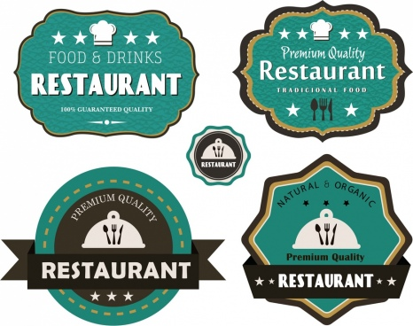 restaurant labels collection green flat decor classical design