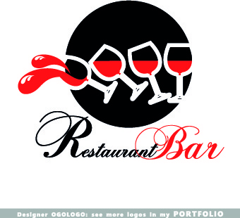 restaurant logos design elements vectors set
