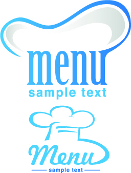 restaurant logos with menu illustration vector