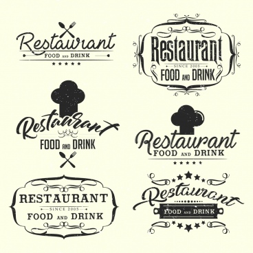 restaurant logotypes classical black white decor